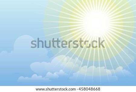 Vector background illustration. Clear sunny blue sky with white clouds and shining sun. Sunshine. Sun rays.