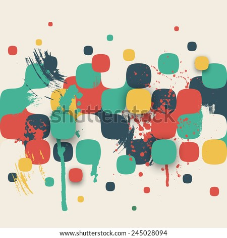 Vector background. Illustration of abstract texture with squares and paint splashes. Pattern design for banner, poster, flyer, card, postcard, cover, brochure. Hand drawn watercolor paint splash. - stock vector