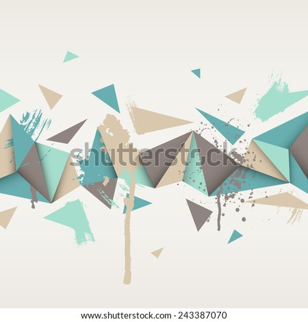 Vector background. Illustration of abstract texture with triangles. Pattern design for banner, poster, flyer, card, postcard, cover, wallpaper, brochure. Hand drawn watercolor paint splash. - stock vector