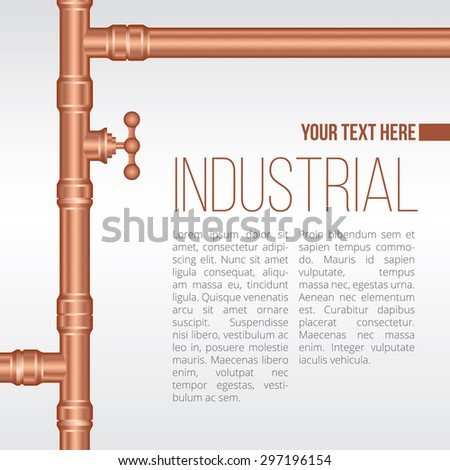Vector background illustration of brass pipeline construction - stock vector