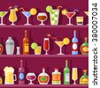 Vector background illustration with flat shadow bottles and cocktail glasses on shelves in retro style  - stock vector