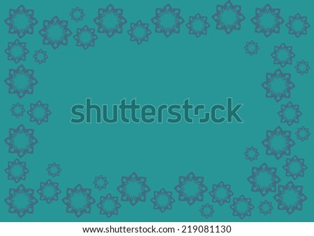 Vector background in blue green with floral design pattern framing copy space in center