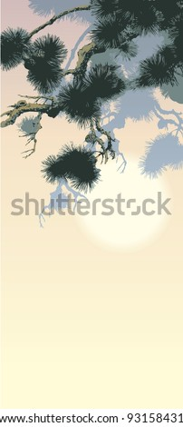 Vector background in oriental style. Hanging branch of old pine trees against the setting sun - stock vector