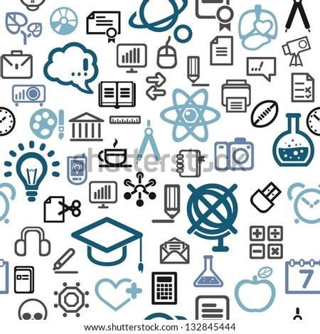 vector background made of education icons - stock vector
