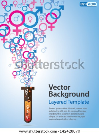 Vector Background - Male & Female Symbols coming out of a Test Tube. Creative Concept for showing Gender Equality, Chromosome, Cloning, Health-care, Healthy Lifestyle and many other ideas. - stock vector