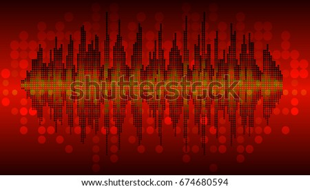 Vector background music wave balance circuit circle green black red