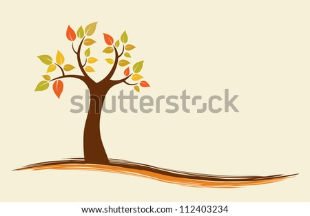 Vector background of an abstract autumn tree. - stock vector