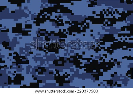 vector background of blue digital camoflage pattern - stock vector