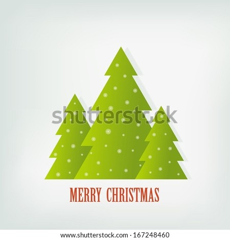 Vector background of Christmas fir-trees. Card or invitation. - stock vector