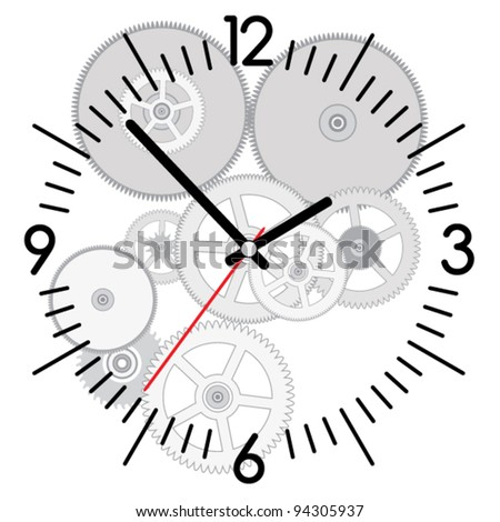 vector background of clock and gears - stock vector