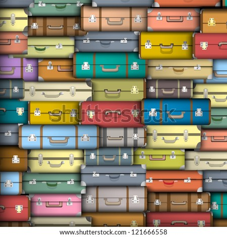 Vector background of colored suitcases - stock vector