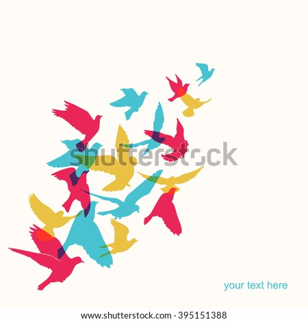 Vector background of colorful silhouette birds. - stock vector