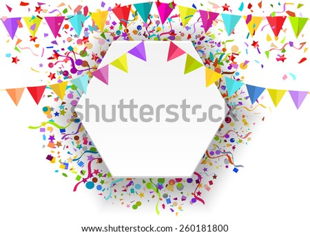 Vector background of falling tiny confetti pieces and colored pennants on white banner, place for Your text.