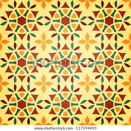 Vector Background of Floral Islamic Seamless Pattern