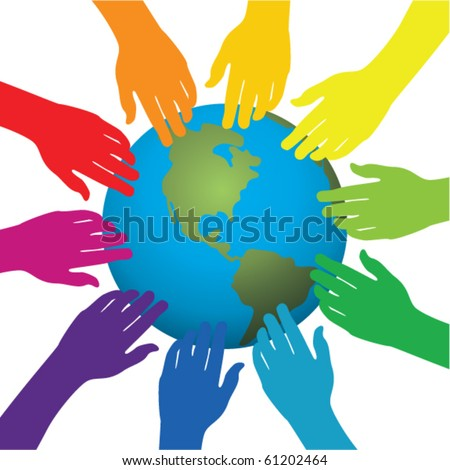 vector background of hands touching earth - stock vector