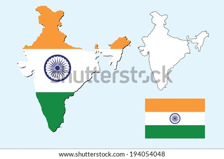 vector background of india map with the flag - stock vector
