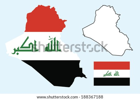 vector background of iraq map with flag - stock vector
