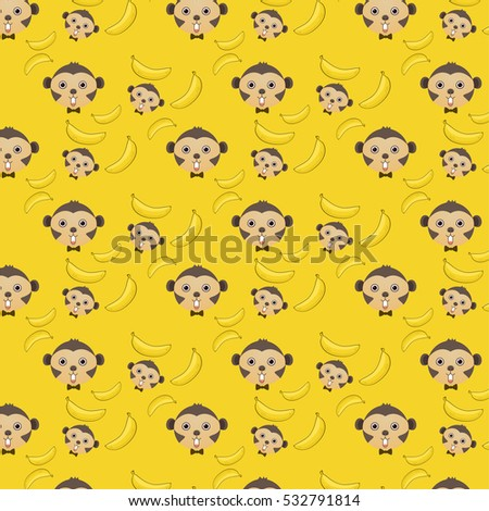 Vector  background of monkey and banana pattern wallpaper with clipping mask