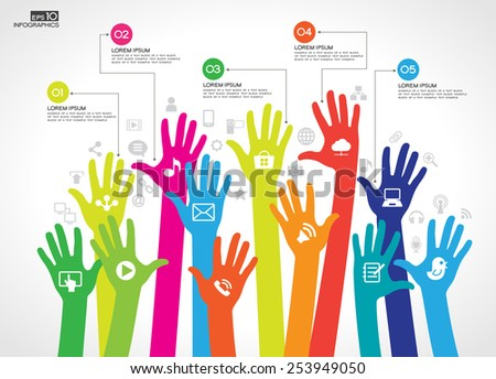 Vector background of network infographics. The concept of communication.  Silhouettes of human hands surrounded by a network of icons, text and numbers. - stock vector