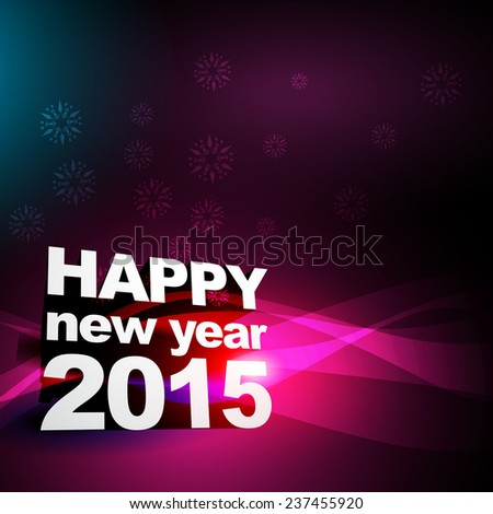 vector background of new year 2015 in purple and pink shades with transparent waves flowing at the back of text