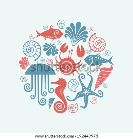 Vector background of sea fauna. Original design element. Decorative illustration for print and web - stock vector