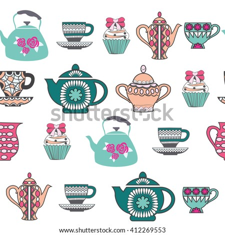 Vector Background of Tea Time ,Tea cups, pots  and  Cupcake hand drawn .Pattern Collection with a tea pot, tea cup, jars, cupcake In vintage style.