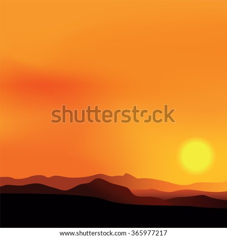 Vector background of the African landscape sunset