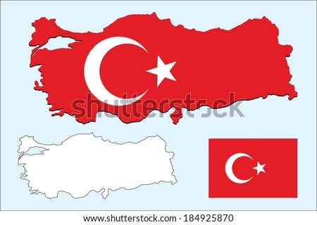vector background of turkey map and flag - stock vector