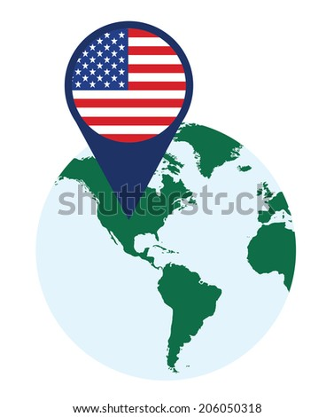 vector background of usa flag pointer on the globe - stock vector