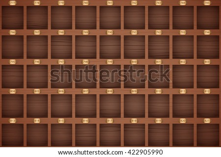Vector Background of Vintage hotel front desk key rack on reception. Concierge workplace. Hotel and resort Illustration. - stock vector