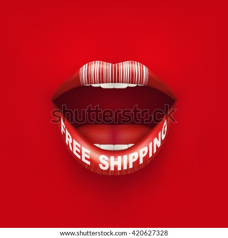 Vector Background of Woman mouth with lips and tag Free Shipping. Sale ot promotion illustration.  - stock vector