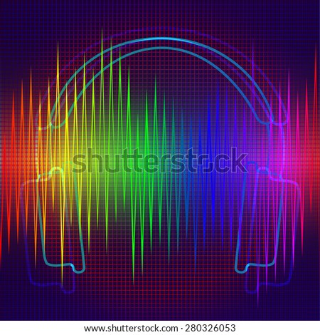 Vector background on the theme of sound and music