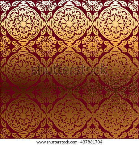 vector background ornamental circle of flowers. abstract drawing. Gold ornament. Baroque , Rococo. Red - stock vector