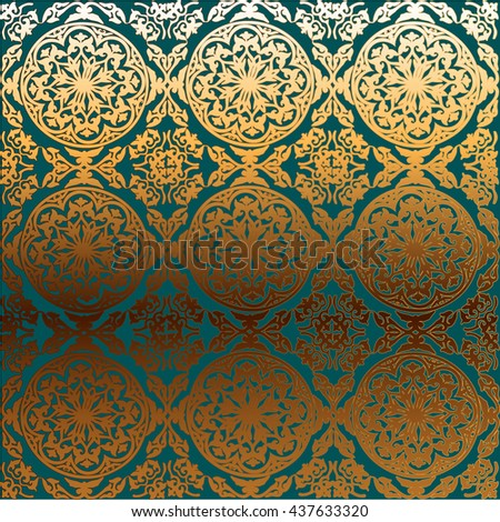 vector background ornamental circle of flowers. abstract drawing. turquoise gold ornament. Baroque , Rococo.  - stock vector