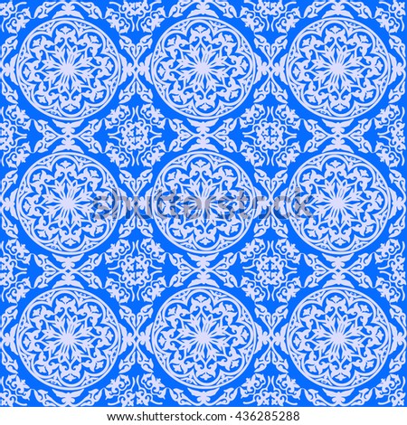 vector background ornamental circle of flowers . seamless pattern . abstract drawing . Blue. Baroque , Rococo - stock vector