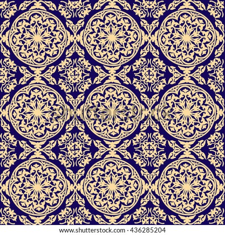 vector background ornamental circle of flowers . seamless pattern . abstract drawing. dark blue. Baroque , Rococo - stock vector
