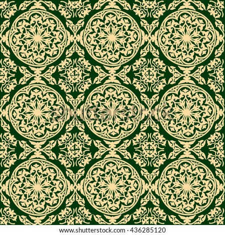 vector background ornamental circle of flowers . seamless pattern . abstract drawing. Green. Baroque , Rococo - stock vector