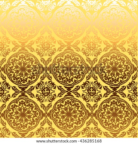 vector background ornamental circle of flowers . seamless pattern . abstract drawing . yellow gold ornament. Baroque , Rococo - stock vector