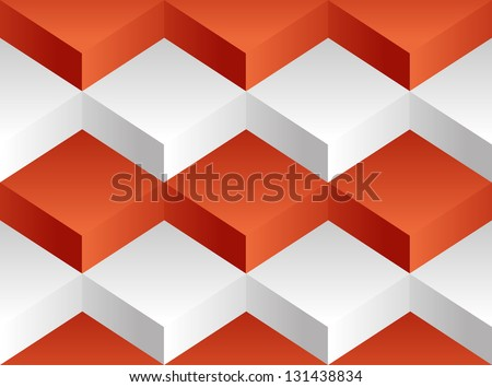 Vector background pattern consisting of a white and red square of volume blocks stacked on one another - stock vector