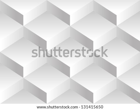 Vector background pattern consisting of a white square of volume blocks stacked on one another - stock vector