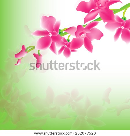VECTOR Background: Pink Orchids with green and white background perfect for cards - invitation/greetings - stock vector