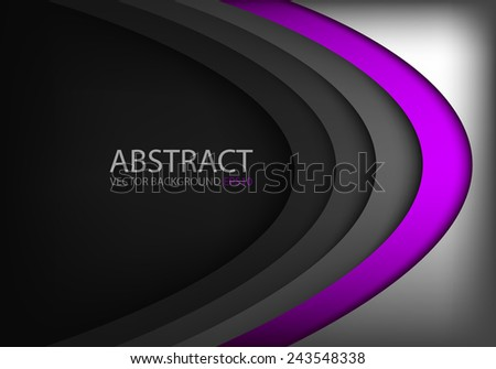 Vector background purple curve on black overlap layer with silver bright color and dark space for text and message modern website design - stock vector