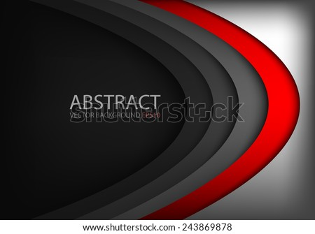 Vector background red curve on black overlap layer with silver bright color and dark space for text and message modern website design - stock vector