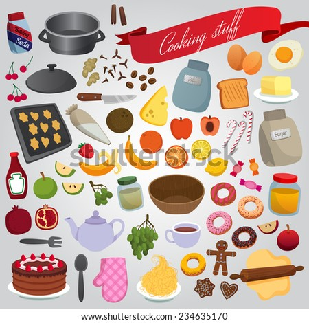vector background set kitchen cooking food sweets fruits crockery - stock vector