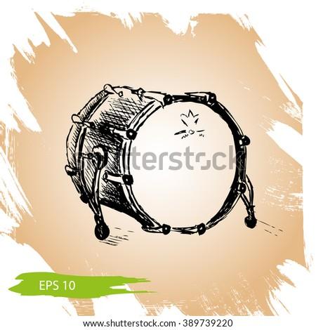 Vector background sketch Drum Drum, vector illustration, music instrument - stock vector