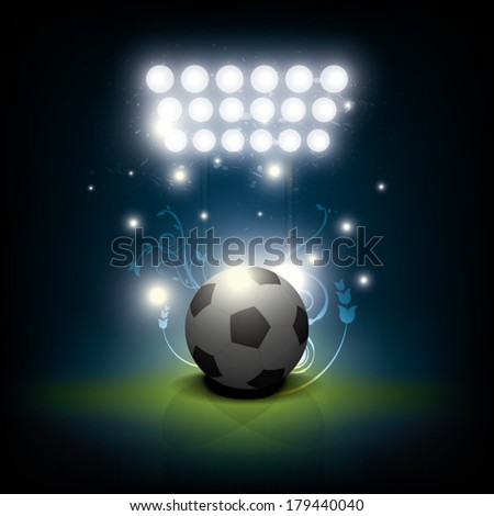 vector background, soccer ball with stadium spotlight - stock vector