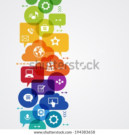 Vector background. Social media concept. Ã?Â??ommunication in the global computer networks. Set of flat design concept icons for web and mobile services. File is saved in AI10 EPS version. - stock vector