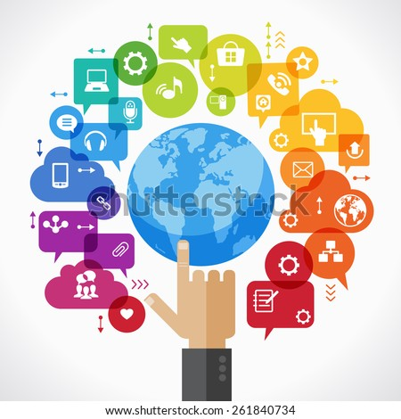 Vector background. Social media concept. ?ommunication in the global computer networks. Set of flat design concept icons for web and mobile services. Human hand, and symbols in the form of a tree. - stock vector