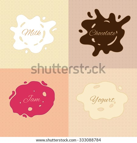 vector background, splashes of milk, chocolate, jam and yogurt on simple geometric patterns