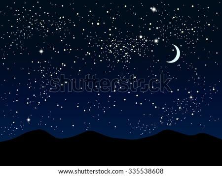 Vector background. Starry night sky. Stars, sky, night. - stock vector